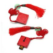 capless red metal USB Flash Drive with Chinese Knot images